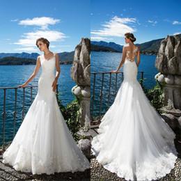 Milla Nova 2018 New Beach Mermaid Wedding Dresses White Lace Appliques Sheer Neck Illusion Bridal Gown Long Court Train Robe De Marriage