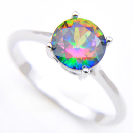 Free shipping --- 10pcs Vintage Silver 925 Queen Fancy Natural Mystic Topaz Round Ring best for Valentine's Day CR0471