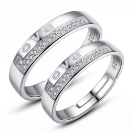 Hot ring ethnic vintage noble crystal couple love letter rings new arrival 925 sterling silver jewelry