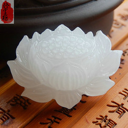 Exquisite 100% Afghan natural hand-carved Natural Jade White Jade Lotus Jade Pendant Necklace