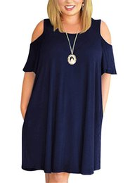 New hot sale online summer casual dress women ladies extra large solid black navy dark blue plus size one piece dress