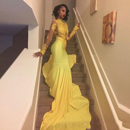 2020 Pretty Yellow African Lace Appliqued Prom Dress Mermaid Long Sleeve Banquet Evening Party Gown Custom Made Plus Size South African