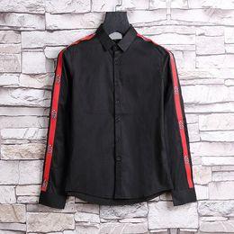 Wholesale- New Autumn Fashion Brand Men Colthes Slim Fit Men Long Sleeve Shirt Medusa gold chain print Shirts Men Casual Business Shirts 3xl