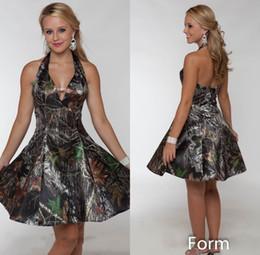 2019 Short Camo A line Wedding Dresses Summer Beach Bridal Gowns Halter Knee Length Backless Wedding Party Dresses