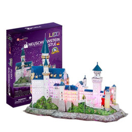 Cubicfun 3D Puzzle New Swan Stone Castle 128Pcs with LED Light Foam Paper Jigsaw Educational Toy Assembly DIY Building Model Gifts