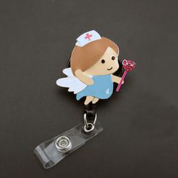 Medical healthcare angel Nurse suit enamel ID Name Tag Badge reel