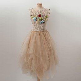 Asymmetrical Champagne Beading and Embroidery Short Homecoming Dresses 2018 Sleeveless Jewel Cocktail Dress Prom Party Gown