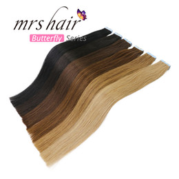 """MRS HAIR Tape In Hair Extensions 20pcs Skin Weft Straight 16"""" 18"""" 20"""" 22"""" 24"""" Adhesive Seamless Hair Black Brown"""