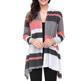 Autumn and winter Europe and the United States new large size cardigan sweater shawl hit color long-sleeved women's sweaters