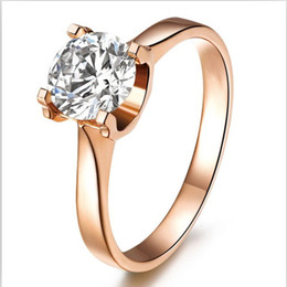 Brilliant 1CT SONA Synthetic Diamond Ring 925 Sterling Silver Jewelry 18K Rose Gold Plated Wedding Anniversary Rings For Women