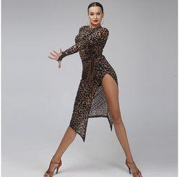 Free Shippping Adult Girls Latin Dance Dress Leopard Flower Print Long Sleeve Split Salsa Tango Cha cha Ballroom Competition Dance Dress