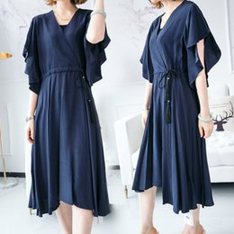2018 summer new style Marmalade girl XT3066-61753 pure color loose V-neck dress five points ruffle sleeve pleated skirt