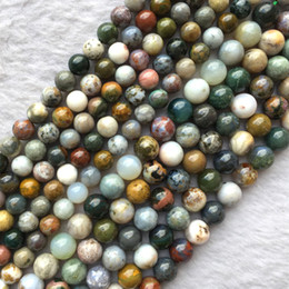 "Natural Genuine Multi-Color Green Yellow White Ocean Jasper Round Jewellery Loose Ball Beads 3mm 4mm 6mm 8mm 16"" 05718"