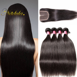 Nadula Raw Indian Hair Bundles With Closure Straight Human Hair Extensions With Lace Closure Hair Weave Bundle With Closure Wholesale Cheap
