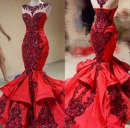 Red Luxury Sequins Applique Mermaid Ruffles Prom Pageant Dresses Shiny Jewel Sheer Neck Mermaid Occasion Evening Gowns