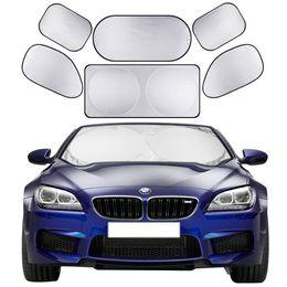 6pcs set Car Sun Shade Screen Full Car Front Side Rear Window Sunshade Curtain Windshield Shades Visor Cover Sun Block