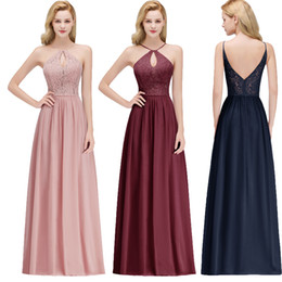 Real Image Sexy Halter Keyhole Neck Cheap Evening Dresses Chiffon Lace Floor Length Long Formal Occasion Wear Prom Party Gown CPS1069