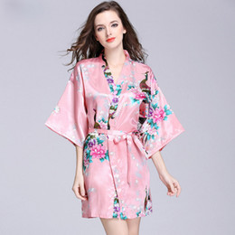 Cross-border hot style imitation silk robe women summer sleeve peacock pajamas bathrobe large size home wear