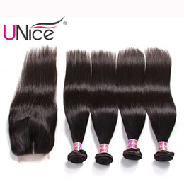 UNice Hair Virgin Body Wave Straight Hair Bundles With Closure Indian Human Hair Extensions Wholesale Remy Wefts With Closure Silk Bulk