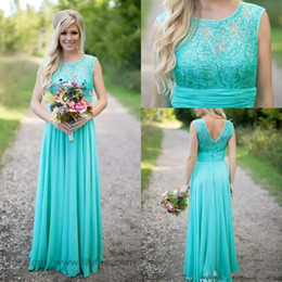 2019 Cheap Country Turquoise Mint Bridesmaid Dresses Illusion Neck Lace Beaded Top Chiffon Long Plus Size Maid of Honor Wedding Party Dress