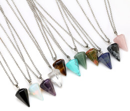 Europe and the United States jewelry natural crystal necklace diamond cut hexagonal column pendant jewelry fashion jewelry wholesale