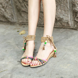 2018 new women shoes Women Sandals Open Toes teenage girls Office & Career Mixed Colors Low Low Heel Wedge Ankle Strap Summer String Bead