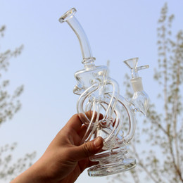 Beautiful Glass Bong Water Pipe Smoking Pipe Dab Rig Recycler Oil Rig Waterpipe Bubbler Bong Pipe Free cleaning brush