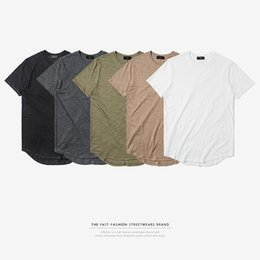 Men's T-shirts spring and summer new high street long arc lower hem breathable and comfortable bamboo knitted men's T-shirt