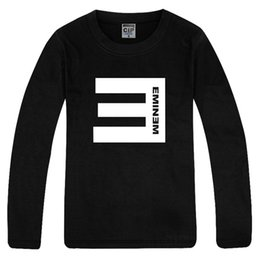 Free shipping fashion Tee new arrival Tee Shirt 100% cotton mens eminem E logo long sleeve tee shirt Top 6 color