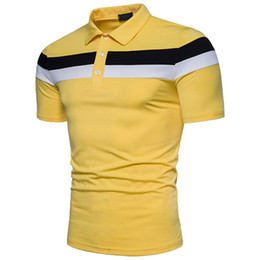 Men's POLO shirts double color horizontal stripes stitching fashion collage collar decoration fashionable comfortable short sleeves