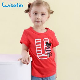Wisefin Girls Tops Kids T Shirt Round Neck Shirt Summer Comfy Red short sleeve Girls Letter T Shirts Teenage Baby Tops Clothing