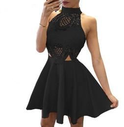 Sleeveless patchwork halter neck sexy backless skirt summer women's dress 90s Skater Punk Girl Fit & Flare ELLE Black Lace Short Dress