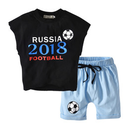 Kids Clothes Boys And Girls 2018 Russia Football Suits Sets Children Clothes T-shirt+Pants 2pcs Suit Drop Shiopping