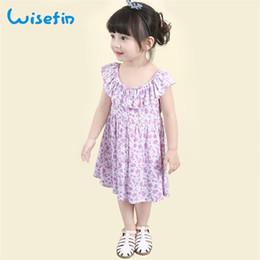 Wisefin Summer New Girls Dress Floral Print Ruffled Soft Cotton Baby Sundress O Neck Dress Toddler 2018 New Kids Summer Dresses