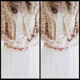 Sparkly Bling Sequins Long Sleeves Rose Gold Bridal Jackets 2019 Shrug Formal High Quality Wedding Coats Boleros Wedding Accessories Cheap