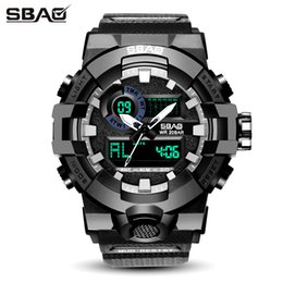 SBAO Brand LED Display Men Sport Watch Male Digital Wristwatch Stop Daily Alarm Boys Calendar Water Resistant Shock Resistant