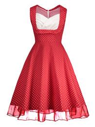 New Women OL Summer Sleeveless OL Dress Fashion Plus Size Cotton Dot Print Vintage Dress