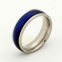 Fancy Handmade Stainless Steel Ring Fashion Mood Change Color Ring for Womens Gift Size 7 8 9