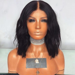 short bob wigs natural color wavy synthetic lace front wig middle part bob wigs with combs and straps