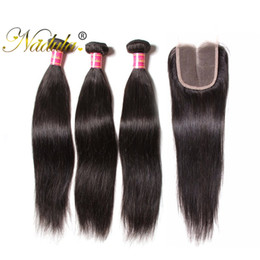 Nadula Brazilian Straight Hair 3Bundles With 1Free Lace Closure Human Hair Bundles With Lace Closure Remy Hair Wefts With Closure Wholesale