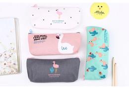 Kawaii Cute Creative Flamingo Canvas Pencil Case Storage Organizer Pen Bags Pouch Pencil Bag School Supply Stationery Korean Style