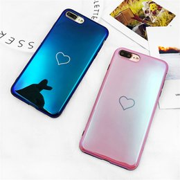 free ship Blu-Ray Laser Mirror Phone Case For iPhone 6s Plus Luxurious Simple Love Heart Soft TPU Blue Pink Fundas For iPhone 7 8 7 Plus X