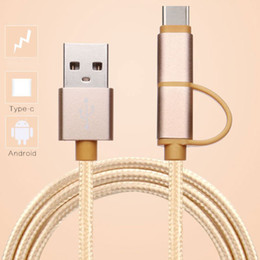 2in1 2A Fast Charge Cable Micro USB + Type C Cable Braided Cord For HUAWEI Samsung xiaomi HTC