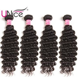 UNice Hair 4 Bundles Indian Deep Wave Virgin Human Hair Bundle Brazilian Wavy Hair Weaves Nice Cheap Bulk Peruvian Malaysian Deep Wholesale