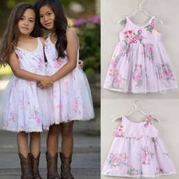 retailBaby Girls Sling Floral Yarn Princess Dress Summer Children Sleeveless Ruffle Party Dresses Flower Printed Dress Kids designer clothes
