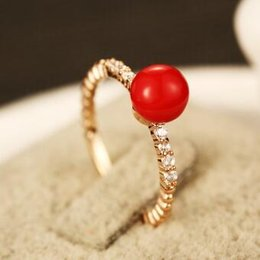 Red Pearl Beads Charms Rings Gold Plated Finger Rings Fashion Zircon Crystal Rings for Women Wedding Party Costume Jewelry