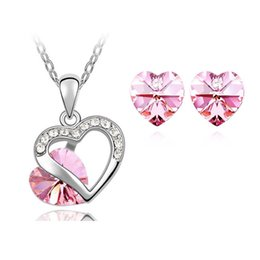 1 set Fashion new Crystal Rhinestone Austrian crystal necklace Earrings Ear Studs for women 7 Color can choose