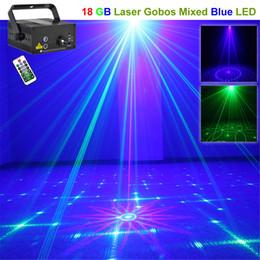 AUCD Mini 3 Len IR Remote 18 Pattern Mini GB Laser Projector Lights 3W Blue LED Mixing Effect DJ Party Stage Lighting L18GB