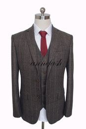 Custom Made Woolen windowpane dark brown Herringbone Tweed British style Mens suit tailor slim fit Blazer wedding men suit