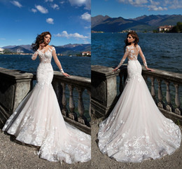 lussano Summer Wedding Dresses 2018 Sheer Long Sleeves See Through Appliques Sweep Train Bridal Gowns with Button Covered Back
